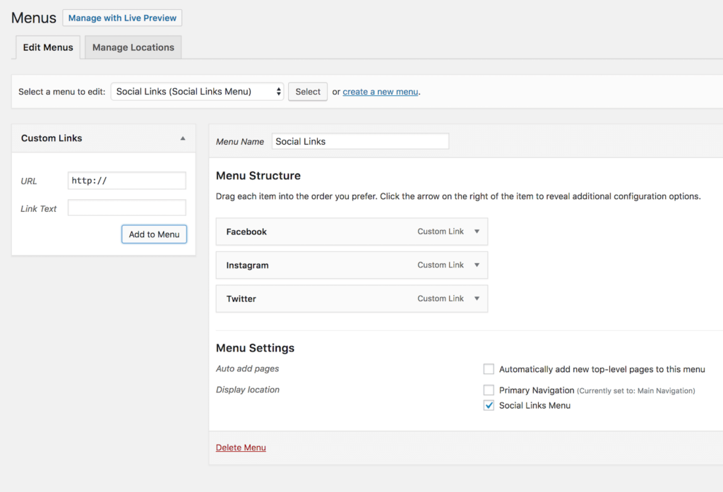 WordPress admin menus screen with only custom links as the available link type