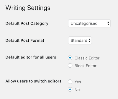 Set Writing Settings to use Classic Editor only