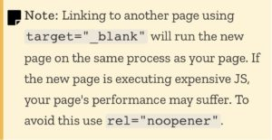 Using noopener in conjunction with target=blank can help with website performance.